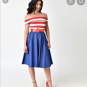 Stripe Off Shoulder & Blue Nautical Swing Dress